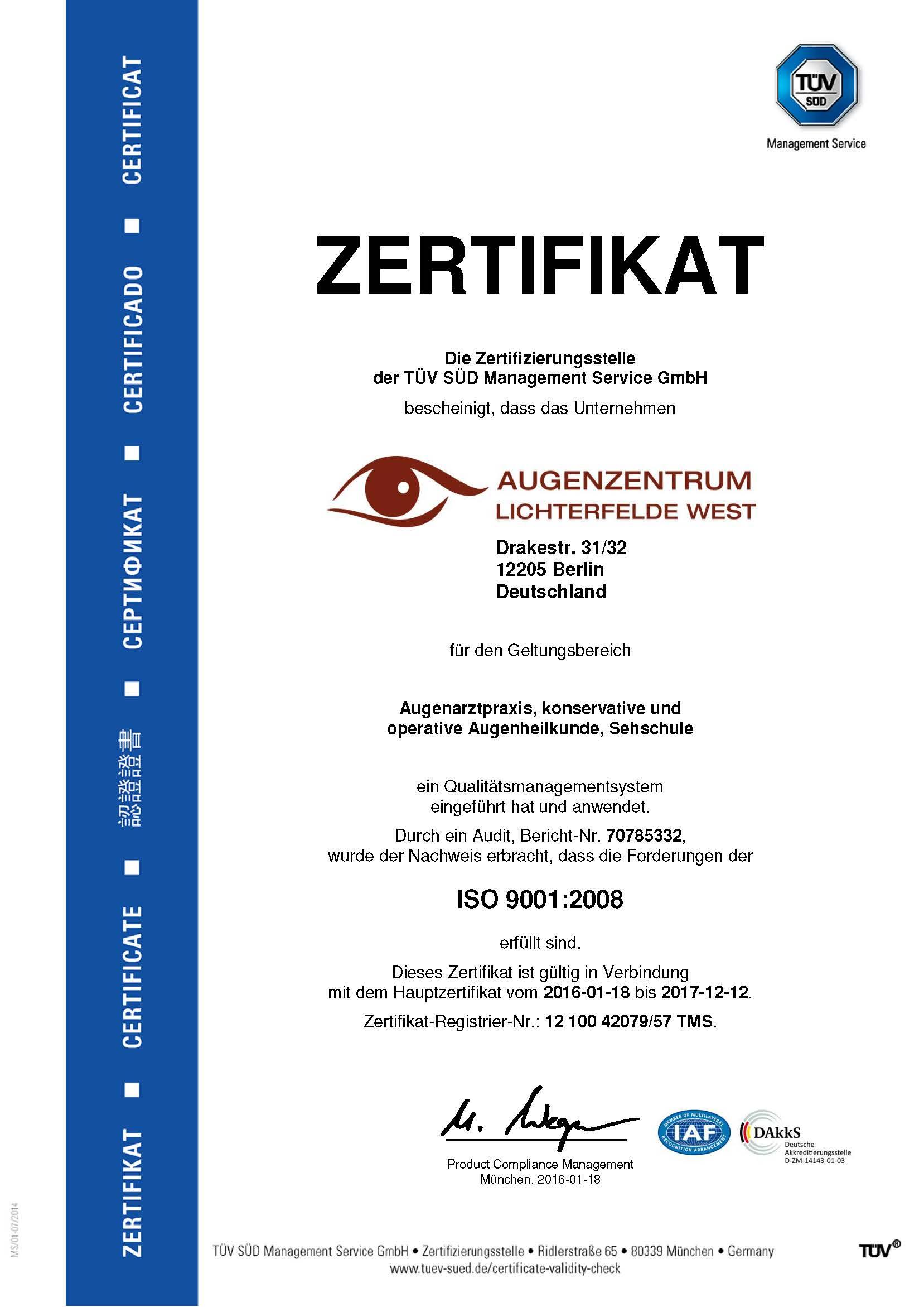 Zertifikat TÜV Lichterfelde West